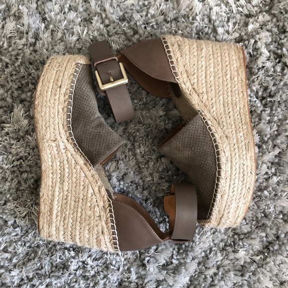 0764a4f013 Marc Fisher Shoes | Dark Taupe Espadrille Wedges | Poshmark
